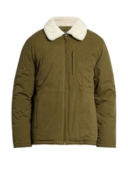 A.P.C. Ottawa Water Resistant Faux Fur Collar Jacket Green Multi