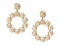 Tory Burch Stone Wreath Drop Earrings Pink Blossom Vintage Gold Earring