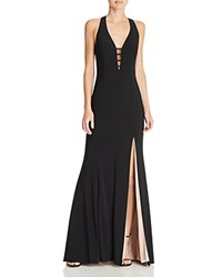 Aqua Illusion V Neck Gown Black Nude