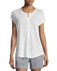 Vince Short Sleeve Henley Cocoon Shirt Women's Size M Off White