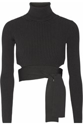 Cushnie Et Ochs Cropped Ribbed Stretch Knit Top Black