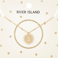 River Island Womens Gold Tone B Initial Necklace