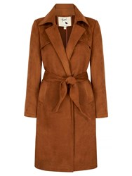 Yumi Suedette Wrap Front Trench Coat Brown