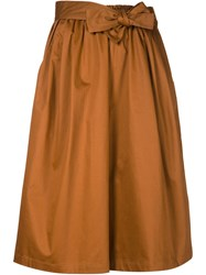 Tome Belted Wide Leg Culottes Brown