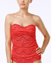 Island Escape Calypso Crochet Twist Strapless Tankini Top Women's Swimsuit Coral