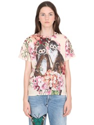 Gucci Bloom And Monkeys Printed Jersey T Shirt