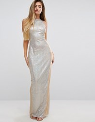 Prettylittlething Sequin Maxi Dress With Mesh Panels Silver