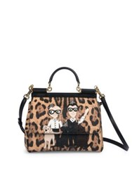 Dolce And Gabbana Family Medium Leopard Satchel Natural Black