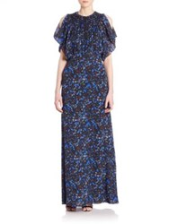 Yigal Azrouel Printed Cold Shoulder Gown Midnight Multi