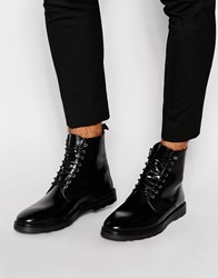 Asos Derby Boots In Black Leather With Wedge Sole