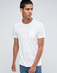 Celio Crew Neck Pocket T Shirt With All Over Print Optic White