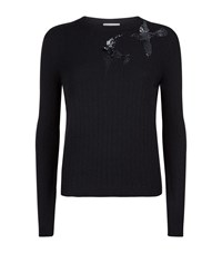 Red Valentino Embellished Sequin Bird Sweater Female Black