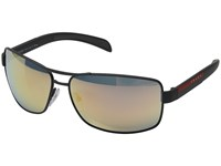 Prada Linea Rossa 0Ps 54Is Grey Rubber Grey Rose Gold Mirror Metal Frame Fashion Sunglasses Gray