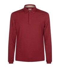 Armani Collezioni Long Sleeve Stretch Polo Top Male Red