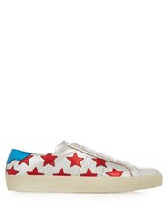 Saint Laurent Star Embellished Leather Trainers Silver Multi