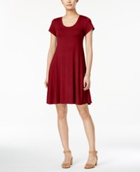 Styleandco. Style Co. Short Sleeve A Line Dress Only At Macy's New Red Amore