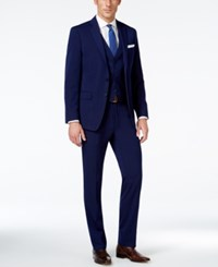 Calvin Klein Navy Solid Big And Tall Slim Fit Vested Suit Blue