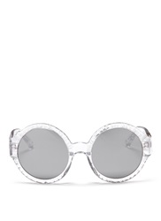 3.1 Phillip Lim X Linda Farrow Carved Rim Acetate Round Sunglasses White Metallic
