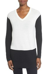 Vince Camuto Women's Colorblock Waffle Stitch V Neck Sweater Antique White
