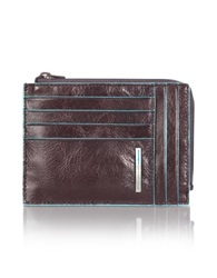 Piquadro Blue Square Zip Around Card Holder Brown