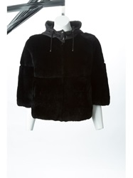 P.A.R.O.S.H. Cropped Fur Coat Black