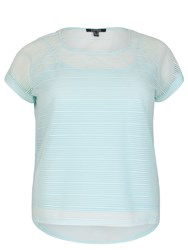 Samya Plus Size Mesh Top With Stripe Texture Light Blue