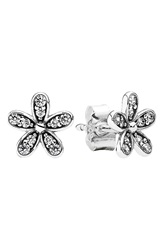 Pandora Design 'Dazzling Daisy' Mini Stud Earrings Silver Clear