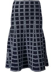 Derek Lam 10 Crosby Grid Pattern Skirt Blue