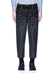 Kolor Leopard Velvet Flock Print Wool Blend Pants Grey