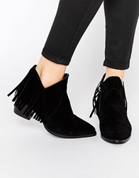 Truffle Collection Margie Fringe Western Ankle Boots Black