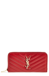 Saint Laurent 'Monogramme' Quilted Leather Wallet Lipstick Red
