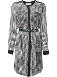 Michael Michael Kors Houndstooth Print Belted Dress White