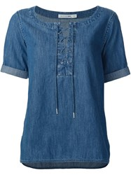 Rag And Bone Denim Drawstring Blouse Blue