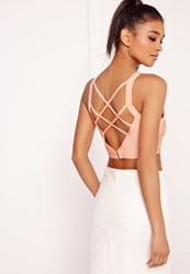 Missguided Criss Cross Strap Back Bandage Bralet Nude Peach
