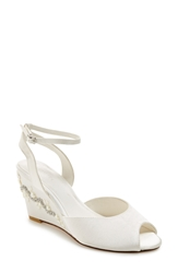 Menbur 'Estela' Ornamented Satin Wedge Sandal Women Ivory