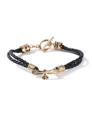 Topman Black Faux Leather And Gold Look Eagle Bracelet