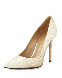Stuart Weitzman Nancy Python Embossed Pointed Toe Pump Soy