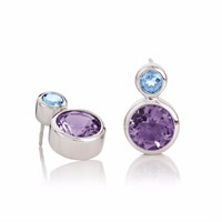 Manja Lana Amethyst And Blue Topaz Earrings Blue Pink Purple