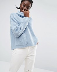 Monki Roll Neck Jumper With Pocket Detail Blue