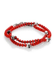 King Baby Studio Red Coral And Sterling Silver Beaded Bracelet