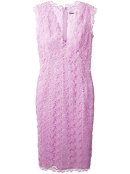 Ermanno Scervino Floral Lace Long Dress Pink And Purple