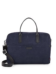 Uri Minkoff Fulton Perforated Suede Briefcase Navy