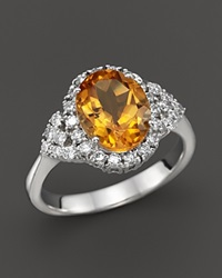 Bloomingdale's Citrine And Diamond Ring In 14K White Gold Orange White