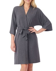 Dkny Urban Essentials Short Wrap Robe Heather Charcoal