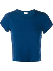 Re Done Hanes Boxy Cropped Short Sleeve T Shirt Blue