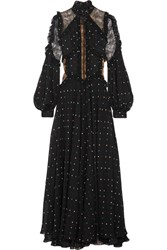 Elie Saab Lace Paneled Polka Dot Silk Blend Chiffon Gown Black