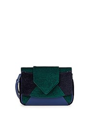 Dannijo Rocha Velvet And Leather Colorblock Clutch Petrol Green