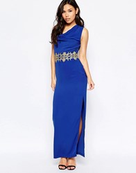 Paper Dolls Maxi Dress With Gold Lace Trim Blue