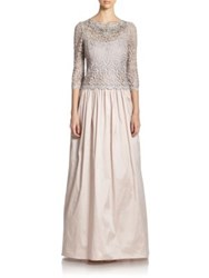 Teri Jon By Rickie Freeman Lace Top Gown Taupe