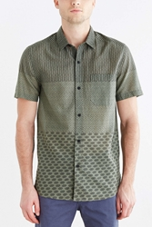 Koto Pattern Blocked Breezy Button Down Shirt Olive